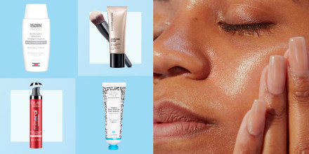Illustration of 4 different sunscreen moisturizers with SPF and a Woman rubbing lotion on her cheek. See the best face moisturizers with sunscreen to try in 2021. Shop moisturizers with SPF from Olay, Drunk Elephant, Fenty Skin and more to protect your sk