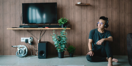an asian chinese teenager boy listening to music with his headphone. The best soundbars are a step up from your TV's built-in speakers. Shop the best soundbars and TV speakers for your home from Samsung, Vizio and more.