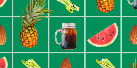 Illustration of food on grids