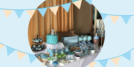 Illustration of a Baby shower table set up with gifts and food