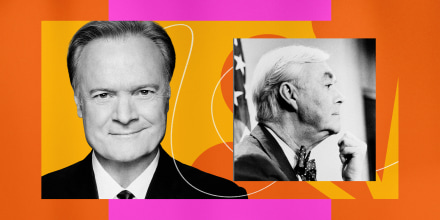 Illustration of MSNBC host Lawrence O'Donnell with Daniel Patrick Moynihan