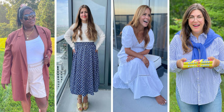 Split image of four Women wearing stylish outfits on broadcast