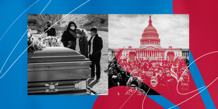 Illustration showing photos of a funeral for a Covid-19 victim and the riot at the Capitol in Washington on Jan. 6, 2021.