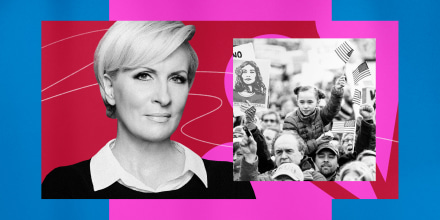 Illustration of MSNBC host Mika Brzezinski and a photo from the Women's March.