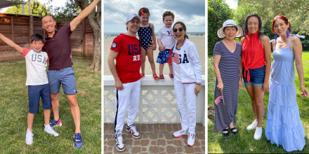 Two families and a father and son wearing Olympic inspired fashion at the beach and in their backyard