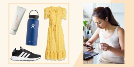 Woman online shopping in a cafe and four different products on sale at Nordstroms