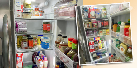 Before and after image of a messy to organized fridge