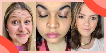 Image of Three different Editors wearing different mascaras you can buy on Amazon