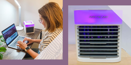 Two images of Editor Emma Stessman next to her portable AC unit, Arctic Chill