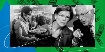 Illustration of a waiter wearing a mask carrying food and drinks at a restaurant and Senators Elizabeth Warren and Bernie Sanders.