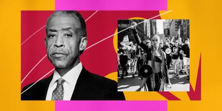 Illustration of MSNBC host Al Sharpton and a Black Lives Matter protest,