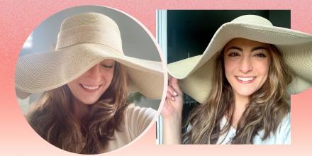 Illustration of Editor Danielle Murphy wearing a floppy sun hat from Amazon