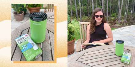 Writer Kara Quill sitting outside with her Thermacell Patio Shield Mosquito Repeller and a close up of the Repeller