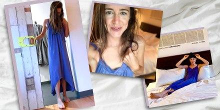 Illustration of Katie Jackson wearing a purple Long sleeveless nightgown from Amazon