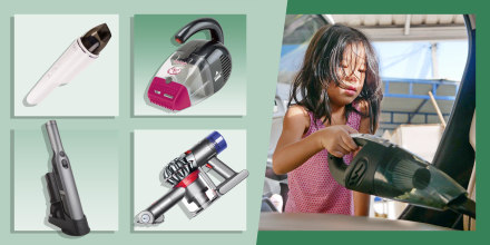 Illustration of a little girl vacuuming a car with a handheld vacuum and four different handheld vacuums