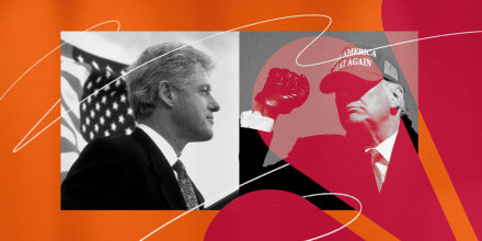 Illustration of photos of former Presidents Bill Clinton and Donald Trump