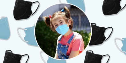 Illustration of two different colors of kids Kn95 masks and a little girl wearing the mask. Medical experts explain how to shop for the best KN95 masks for kids and toddlers, like FDA-approved KN95 masks from Amazon, Wellbefore, Vida and more.