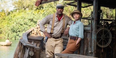 """Dwayne Johnson as Frank and Emily Blunt as Lily in \""""Jungle Cruise.\"""""""