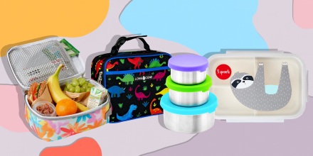 Illustration of four different types of kids lunchboxes