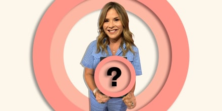 Image of Jenna Bush Hager holding a book that is hidden by a question mark