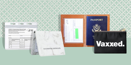 Illustration of four different types of Vaccine Card holders