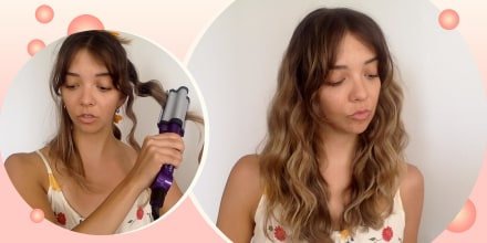 Illustration of Writer Cailey Rizzo using a beach waver tool and showing off her hair after