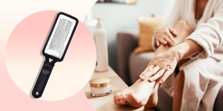 Illustration of a Woman with beauty face mask massaging her legs and feet and a foot scrubber