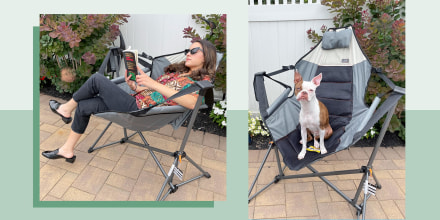 Illustrated GIF of Jillian Ortiz swinging on a Hammock chair from Amazon and a dog sitting on the chair