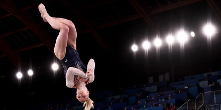 USA's Jade Carey competes in the artistic gymnastics women's floor exercise final during the Tokyo Games on Aug. 2, 2021.