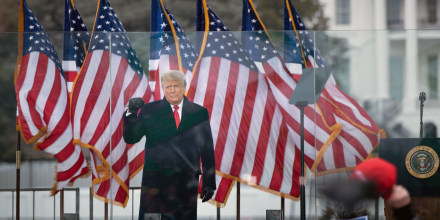President Donald Trump speaks to supporters from the Ellipse near the White House on Jan. 6, 2021.