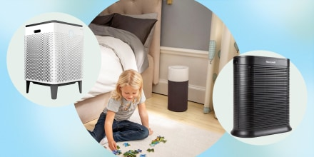 Illustration of a child playing in their room with a Blue Pure 411 Air Purifier, a Coway AirMega 400S, and a Honeywell True HEPA Allergen Remover