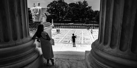 Image: Visitors outside Supreme Court