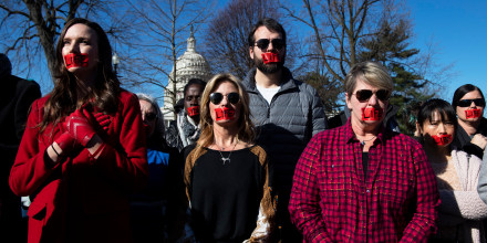 Anti-abortion activists protest outside the Supreme Court in Washington on March 4, 2020.