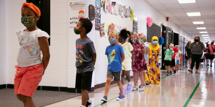 Image: Students in their first day of school at Wilder Elementary School in Louisville, KY