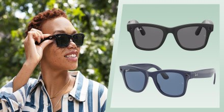 Illustration of a Woman wearing the new Ray-Ban Smart Glasses and two pairs of the glasses in black and blue