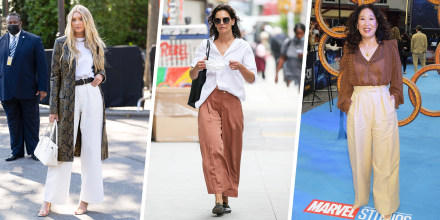 """Images of Katie Holmes out and about on August 03, 2021 in New York City, Elsa Hosk at the Michael Kors during New York Fashion Week, and Sandra Oh at Marvel Studios' """"Shang -Chi And The Legend Of The Ten Rings"""" at The Curzon Mayfair"""