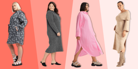 Illustration of four different Women wearing plus size dresses for fall