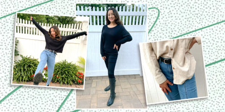 Writer Jillian Ortiz in three different images, wearing slimming black and jean jeans purchased from Amazon