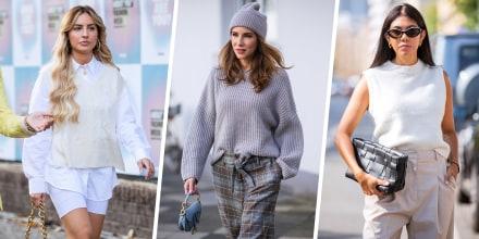 Illustration of three Women walking outside wearing stylish sweaters for fall