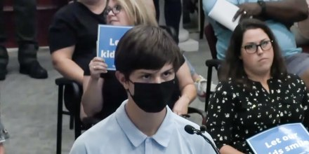 High school student Grady Knox shared during that his grandmother died of Covid-19 and people laughed at a school board meeting in Rutherford County, Tenn., on Sept. 7, 2021.