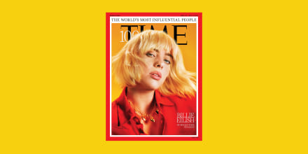 Image: Billie Eilish on the cover of Time magazine's 100 most influential people in the world.