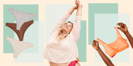 Image of a Woman, woman holding a sport bra and different color thongs, from the new Old Navy line of sleepwear and intimates