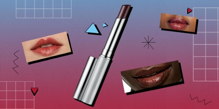 Illustration of the Clinique viral Almost Lipstick in Black Honey and a cut outs of lips with the product on