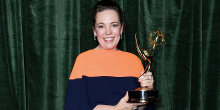 """Image: Olivia Colman with her Emmy award for \""""Outstanding Lead Actress for a Drama Series,\"""" on Sept. 19, 2021 in London."""
