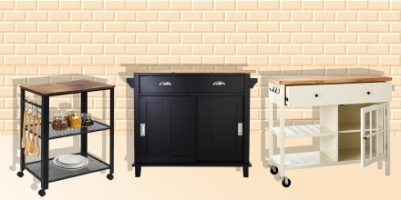 Image of the Belmont Black Kitchen Island, Windham Wood Top Kitchen Island and Best Choice Products 3-Tier Rolling Utility Cart