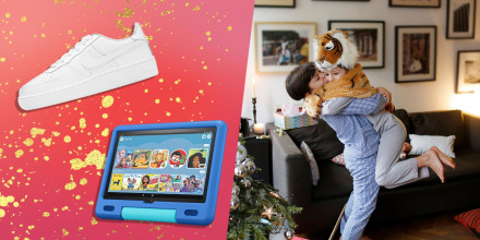 A brother and a sister hugging while unwrapping their Christmas presents, Nike Air Force 1 LE Big Kids and the new Fire HD 10 Kids tablet