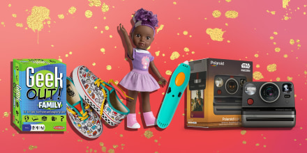 Illustration of Adora Be Bright Doll, Vans Customs Kids Macaron shoes, Polaroid Now Instant Camera -- Star Wars The Mandalorian Edition, 3Doodler Start 3D Pen for Kids and Geek Out! Family Edition