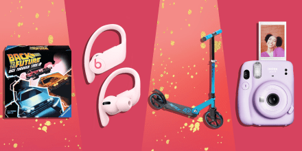 Illustration of a blue Huffy Scooter, Fujifilm Instax Mini 11 Instant Camera, Back to the Future: Dice Through Time Board Game and pink Bose Powerbeats Pro