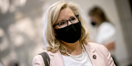 Rep. Liz Cheney, R-Wy., arrives at the U.S. Capitol on Aug. 24, 2021.