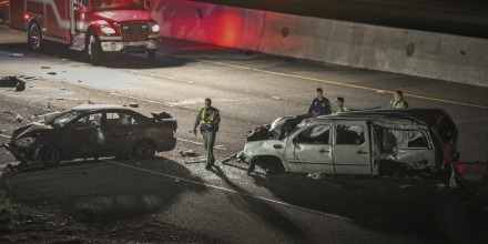Image:  California Highway Patrol officers investigate the scene of a multi-car crash on Interstate 880 in Fremont in 2018.